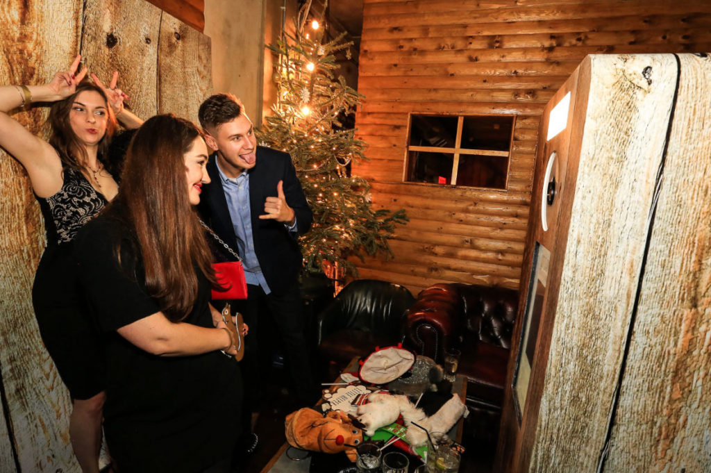 Wood Cabin Winter Event Photo Booth